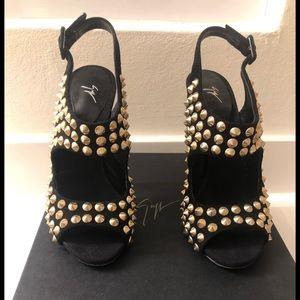 Giuseppe Zanotti black heels with gold studs